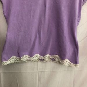 Casual Corner Tops - Casual Corner Annex Lavender Lace SS Tee Size M
